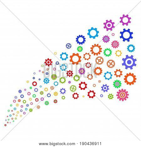 Fountain of gears and cogs symbols. Vector illustration style is flat bright multicolored iconic gears and cogs symbols on a white background. Object fountain constructed from pictographs.