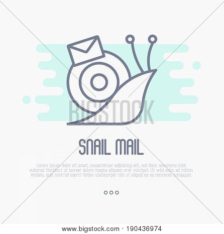 Thin line icon of snail mail with envelope. Symbol of slow mail. Vector illustration.