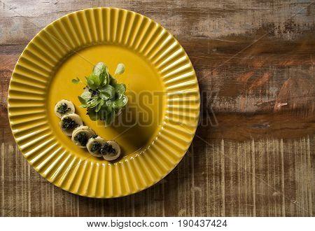 Pupunha palm with pesto and watercress. Gourmet food.