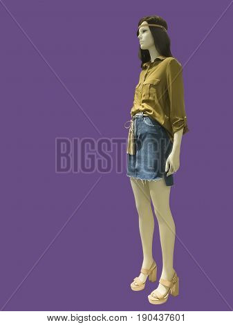 Full-length female mannequins dressed in fashionable clothes isolated. No release required. No brand names or copyright objects.