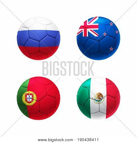 3D Soccer Ball Group A With Russia, Portugal, New Zealand, Mexico Teams Flags.