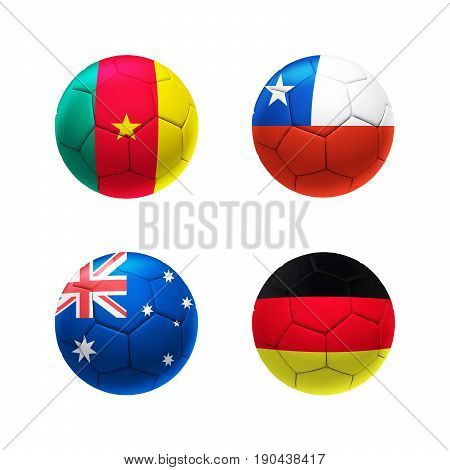 3D Soccer Ball Group B With Cameroon, Chile, Australia, Germany Teams Flags.