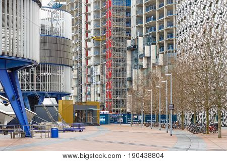 London UK - May 15 2017 - Building sites of Greenwich Peninsula a new residential development in North Greenwich