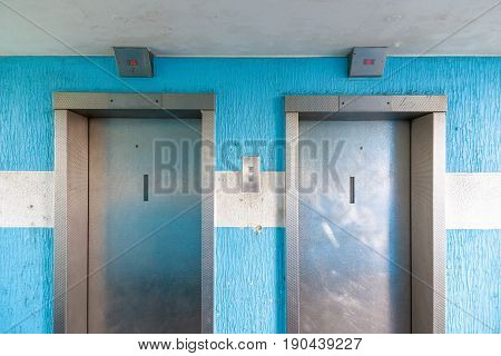 Two elevators in a council housing apartment in London