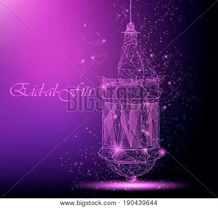 Eid Al Fitr beautiful greeting card with traditional Arabic lantern. Polygonal art on purple background. Usable for Eid Mubarak. Stock vector