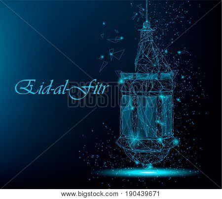 Eid Al Fitr beautiful greeting card with traditional Arabic lantern. Polygonal art on blue background. Usable for Eid Mubarak. Stock vector
