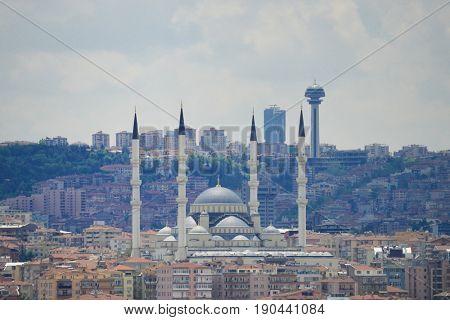 Kocatepe Mosque and Atakule - City silhouette in Ankara, Turkey