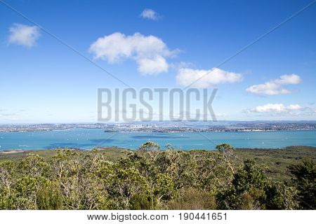 Auckland, New Zealand - April 19, 2015: City skyline as seen from top of volcano Rangitoto