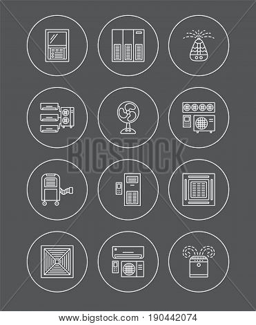 Ventilators & Air conditioners. Climate equipment for summer. Split system fan purifier humidifier. Line icon collection of heat regulation appliances isolated on dark background. Vector illustration.