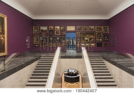 FRANKFURT, GERMANY-JUNE 07, 2017: Staircase with old masters in the Staedel museum Frankfurt, Germany
