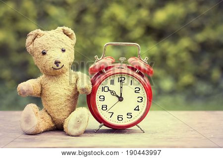 Retro toy and alarm clock vintage background