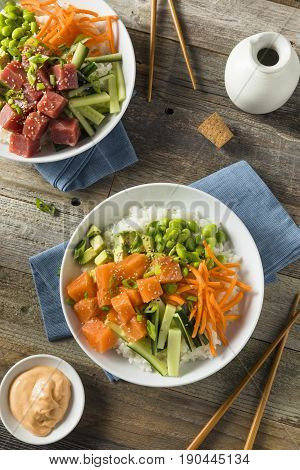 Raw Organic Salmon Poke Bowl