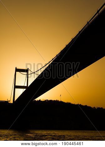 Bridge Over The Strait Of The Bosphorus, Sunset. Contour, Sepia