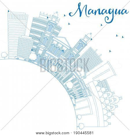 Outline Managua Skyline with Blue Buildings and Copy Space. Business Travel and Tourism Concept with Modern Architecture. Image for Presentation Banner Placard and Web Site.