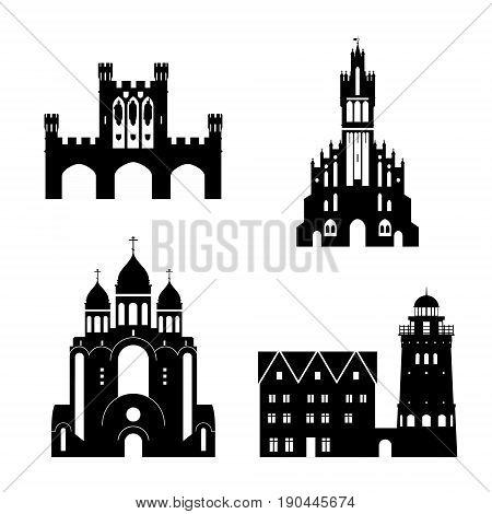 Silhouettes of Kaliningrad landmarks. Vector isolated illustration.
