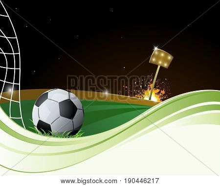 Soccer ball next to net with floodlight in the background