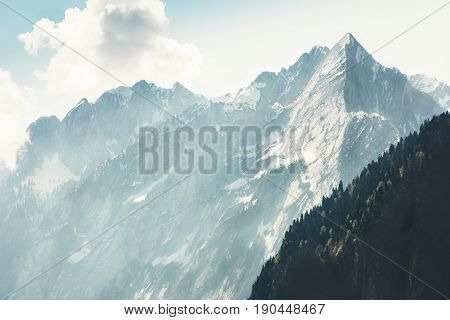 Rocky Mountains peak Landscape Travel view serene scenery wild nature calm summer atmospheric scene aerial view