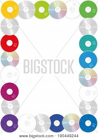 CDs - rectangular frame, portrait format, out of compact discs with colored front and glossy back side - isolated vector illustration on white background.