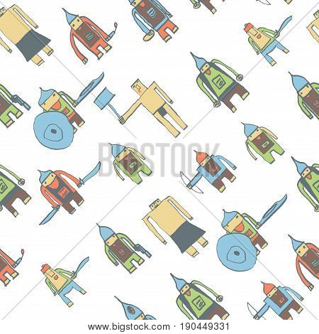 Hero Seamless Pattern. Terrific Child's Drawing With School Pen. Cute Hero Hand Drawn With Color On