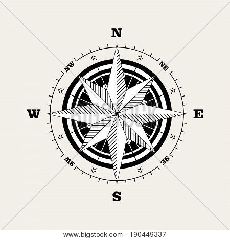 Compass rose (windrose) navigational scale vintage design