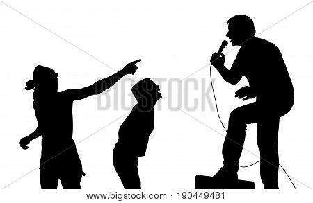 Singer and fans. Isolated white background. EPS file available.