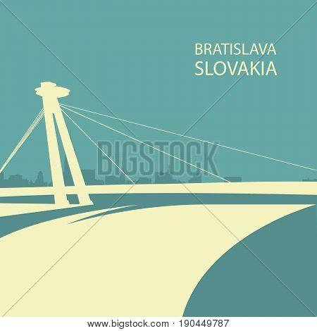 Bratislava cityscape with UFO bridge silhouette Slovakia