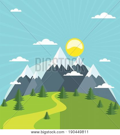Summer mountains with snow-covered peaks and firs