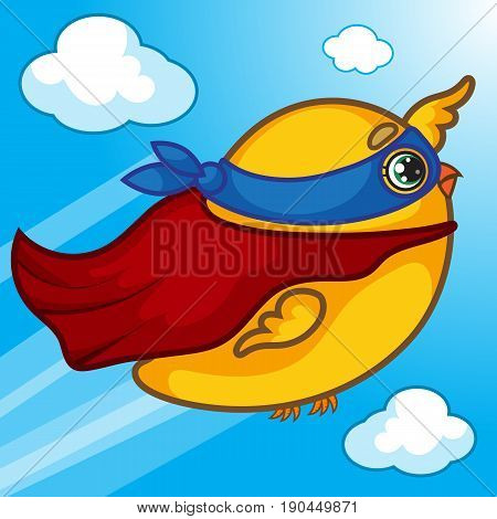 Happy Flying Chick Character, Cartoon Yellow Super Chick, Red Cloak, Hand Drawn, Vector Illustration EPS 10