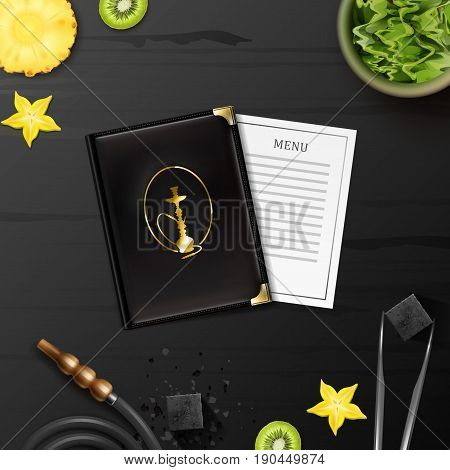 Vector hookah flat lay with shisha tobacco in bowl, charcoal, tongs, menu, hose and slices of kiwi, pineapple, star fruit on black wooden table top view