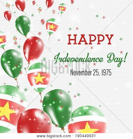 Suriname Independence Day Greeting Card. Flying Balloons In Suriname National Colors. Happy Independ