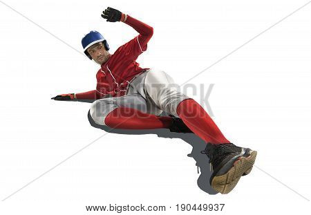 one caucasian man baseball player run in studio silhouette isolated on white background