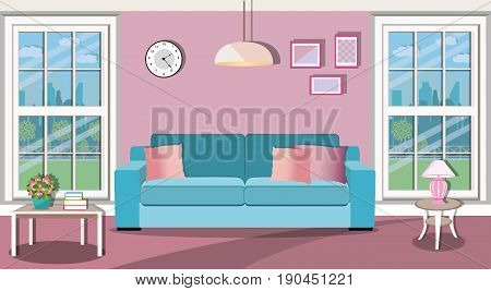 Bright living room interior design with large windows overlooking the courtyard. Comfortable sofa, table, lamp, clock and picture. Flat style vector illustration.