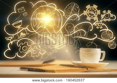 Close up of desktop with coffee cup notepad pen and yellow lamp drawing. Bright idea concept