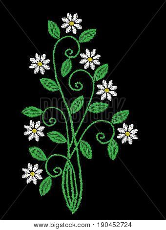 Embroidery stitches imitation floral pattern with folk flower. Fashion embroidery on black background. Embroidery flower vector.