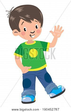 Children vector illustration of funny boy in in green t-shirt and jeans waving by hand, another hand in his pocket