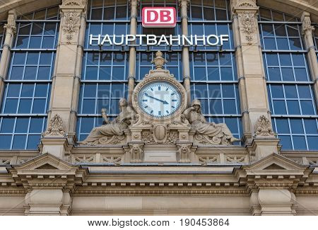 FRANKFURT, GERMANY-JUNE 07, 2017: Facade of the Frankfurt central station in Frankfurt, Germany
