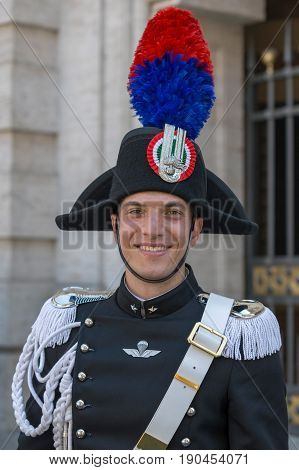 ROME ITALY - JUNE 2 2017: Military parade at Italian National Day. Portrait of soldier.