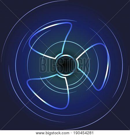 Cooling fan art. Ventilator symbol Vector illustration.