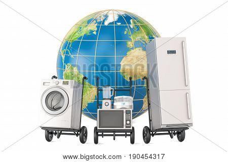 Global shopping and delivery of household kitchen appliances 3D rendering