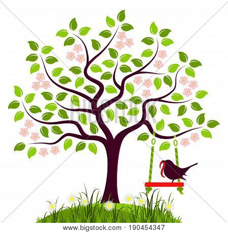 vector flowering tree with swing and bird with worm isolated on white background