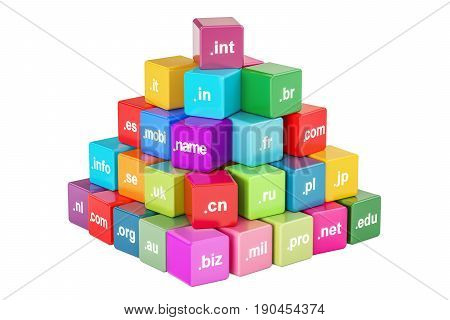 Set of colored cubes with domain names 3D rendering