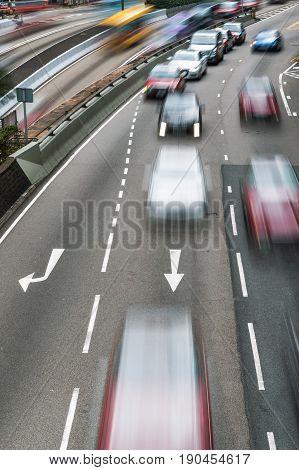 Motorway Traffic In Motion Blur