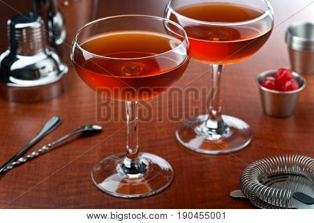 A delicious manhattan cocktail with rye sweet vermouth and bitters.