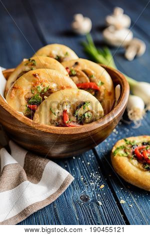 Baked Small Mushroom Pies With Cheese And Pepper