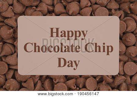 Happy Chocolate Chip Day greeting with dark milk chocolate chips background