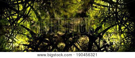 A strange overgrowth of plants on an alien world.