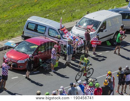 Pas de Peyrol France - July 62016: The Polish cyclist Rafal Majka of Tinkoff Team riding on the road to Pas de Pyerol (Puy Mary) in Cantalin the Central Massif during the stage 5 of Tour de France on July 6 2016.