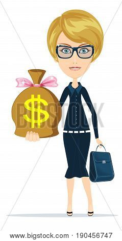 Woman with a huge bag full of money. Stock vector illustration for poster, greeting card, website, ad, business presentation, advertisement design.
