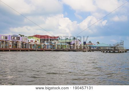 Belize City Belize - February 26 2017: Along the shores of Belize City in the Caribbean Sea