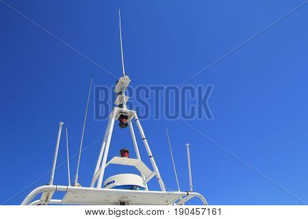 St Raphael, Provence, France - August 21 2016: Radar And Navigation Equipment On A Passenger Ferry I
